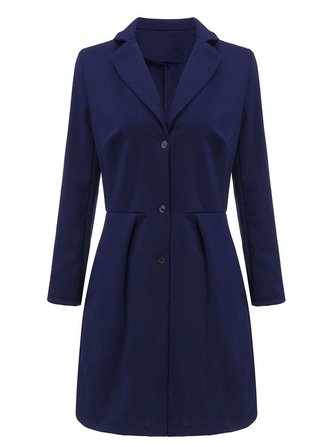 Women Navy Lapel Button Long Sleeve Dress
