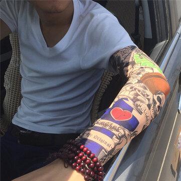 Tattoo Arm Cooling Sleeves ถุงมือ จักรยานฤดูร้อนขี่จักรยานจักรยานถุงมือกันแดดขับรถ