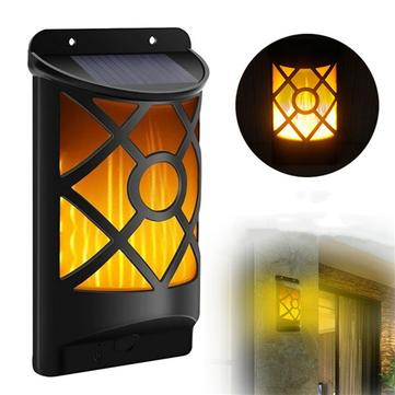 66 LED Flickering Solar Garden Light Outdoor Waterproof Dancing Flame Wall Lamp