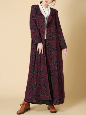 O-NEWE Vintage Women Floral Frog Hooded Long Coat