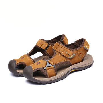 Men Sandals Genuine Zweep van het leer Male Summer Beach schoenen casual suède