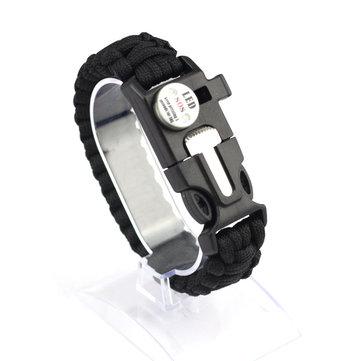 IPRee®5in1OutdoorSurvival Rope Armband Met Waterdicht SOS LED Light Emergency Whistle
