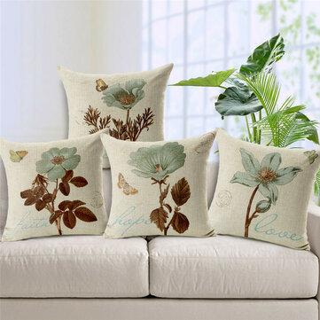 Hidden Zipper Design Pillowcase Square Vintage Flower Cushion Cover Decorative Throw Pillow Cover