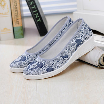 US Size 5-12 Women Summer Wedge Comfortable Soft Casual Canvas Slip On Shoes