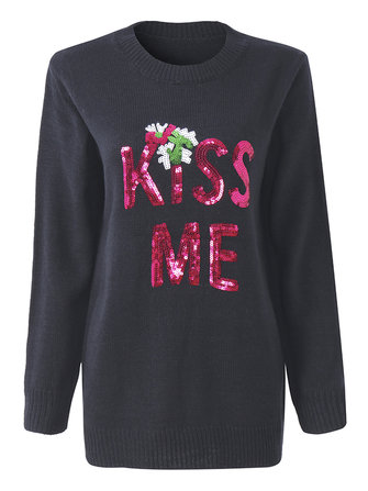 Christmas Letters KISS ME Sequined Long Sleeve Knitted Pullover Sweater For Female