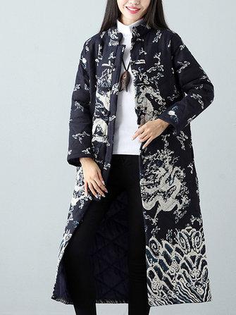 Buy Warm Winter Robe Flower Long Coat Linen Thin Cotton Jacket Women