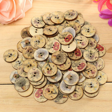 100pcs Mixed Color Wooden Flower Sewing