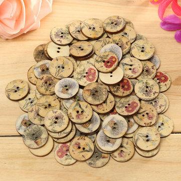 100pcs cor mista de flores de madeira de costura botões artesanato diy botão saco chapéu roupas decoração de costura