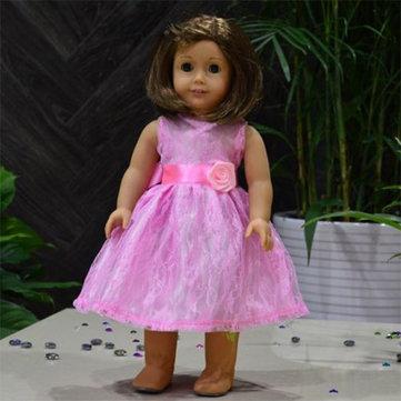 الوردي اللباس الدانتيل دمية الملابس لمدة 18 بوصة فتاة أمريكية