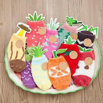 Unisex Kids Fruit van het beeldverhaal Coral kasjmier sokken Verdikking warme wol Non-slip Floor Sokken