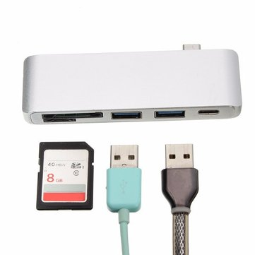 5 In 1 USB 3.1 Type-C To USB 3.0 2 Ports High Speed Hub SD TF Card Reader Support Laptop Charging
