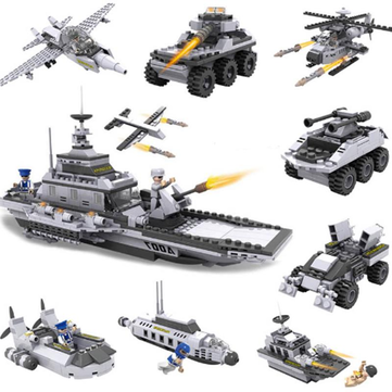 Cogo Aircraft Carrier Blocks Military Airplane Ship 8 in 1 Building Blocks 743+pcs Kids Toys