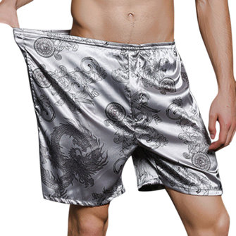 Summer Casual Home Loose Cool Thin Imitation Silk Sleepwear Shorts for Men