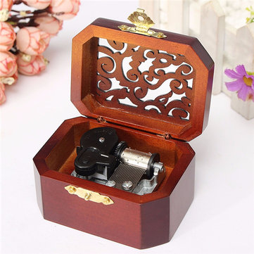 Classic Octagon Wood Wind Up Hand Crank Musical Box Castle In The Sky