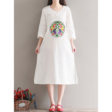 Casual Women Embroidered Kaftan Dress Long Sleeve White Navy Pockets Dresses