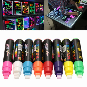 8pcs 10mm highlighter led writing board neon marker fluorescent liquid chalk pen