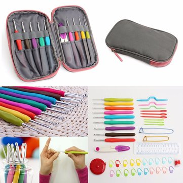 Crochet Needle Hooks Set Organiser Case AccBearded Needle Suit With 45 Piece Attach One Storage Bag 1127984