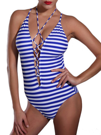 Vrouwen Sexy Deep V One Stuk Voor Hollow Out Out Cross Straps Stripe Swimsuit