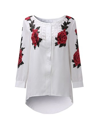 Women Embroidery Loose Hollow Long Sleeve Blouses