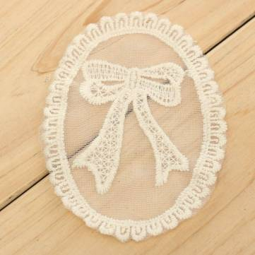 5pcs White Bowknot Embroidery Non-woven Patch Dress Curtain DIY Sewing Needlework Accessories