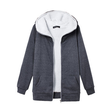 S-4XL Women's Fleece Hoodie Outwear Thicken Coat