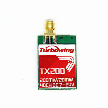 Turbowing TX200 5.8G 20mW / 200mW 40CH Mini FPV-zender RP-SMA Vrouw voor RC Drone
