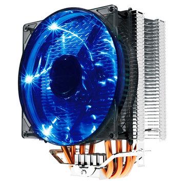 Pccooler Donghai X4 4 PIN 4 tiyo Chalè Blue LED CPU pi fre Refwadisman Fan pou Intel AMD