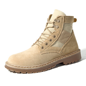 Men Comfortable Army Style Canvas High Top Boots