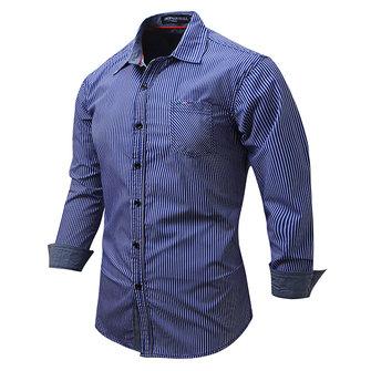 Мужская хлопок Stripes Печать с длинным рукавом весна осень воротник отложной Повседневная рубашка