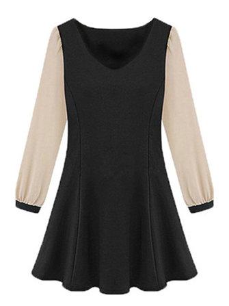 Ruffles Casual Slim Chiffon Patchwork V Neck Women Skater Dress