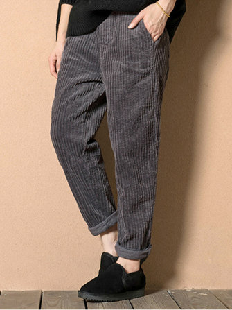 M-5XL Casual Women Loose Solid Color Harem Corduroy Pant