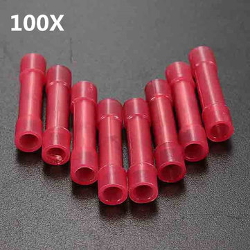Buy 100pcs Red Electrical Wire Crimp Butt Connector Insulated Terminal 0.4-1mm² 22-18AWG for $4.59 in Banggood store