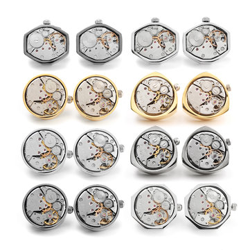 Retro Tie Clip Watch Movement Cufflinks for Men Shirt Cuff