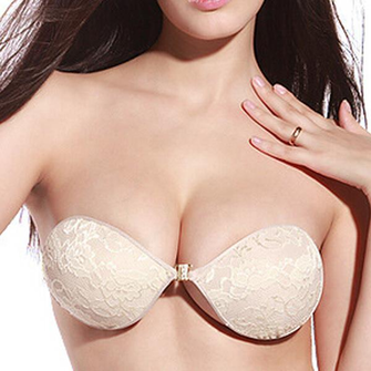 Sexy Lace Push Up Front Closure Seamless Strapless Sticky Invisible Silicone Breathable Bras