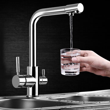 Flexible Chrome Brass Kitchen Sink Bathroom Clean Wash Cold & Hot Basin Twin Lever Faucet Mixer Tap