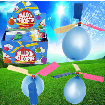10X Colorful Traditional Classic Balloon Helicopter Portable Flying Toy