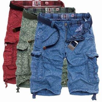 MensZomerKatoenLadingBroekVerf Spuiten Gedrukte Multi Pockets Lading Shorts