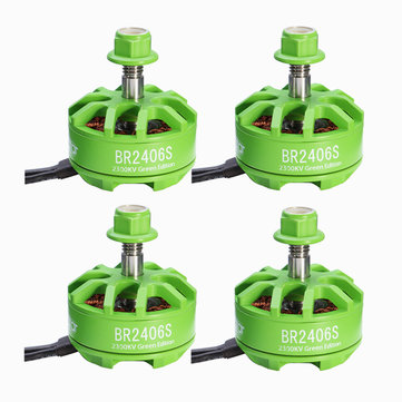 4X Racerstar 2406 BR2406S Green Edition 2300KV 2-5S Brushless Motor For X220 250 300 RC Drone FPV Racing