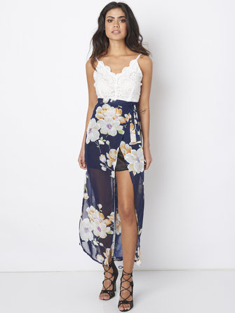 Women Sexy Lace Patchwork Floral Printed Harness Chiffon Dresses