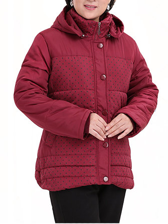 Middle Age Moeder Dots Print Patchwork Hooded Padded Coat