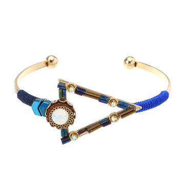 Bohemian Bracelet Punk Gold Plated Colorful Glass Bead Triangle Charm Bangle Boho Jewelry for Women