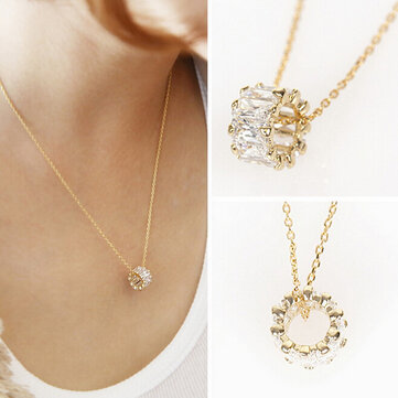 S925 Sterling Silver Short Zircon Crystal Simple Chain Sweet Clavicle Necklaces