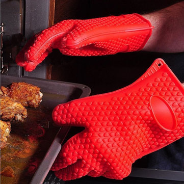 Honana Thicken Silicone Heat Resistant Glove Grilling Gloves Antiskid BBQ Cooking Protective Gloves