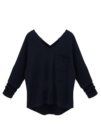 Plus Size Casual Loose Black Cashmere Long Sleeve V Neck Women T-Shirt