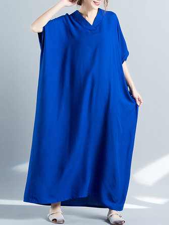 Buy Women Loose Casual Pure Color Batting Sleeve Tunic Maxi Dress for $20.79 in Banggood store
