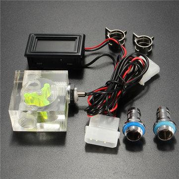 LED-thermometer 3-wegs flowmeter voor watervloeistofkoelsysteem met 2 barbs