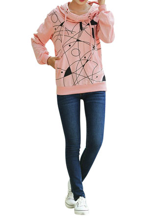 Casual Line Print Long Sleeve Loose Women Hooded Sweatshirt