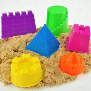 6Pcs a Set Mini Baby Children Kids Indoor Toy Beach Seaside Model Castle Clay Moving Magic Sand Gift