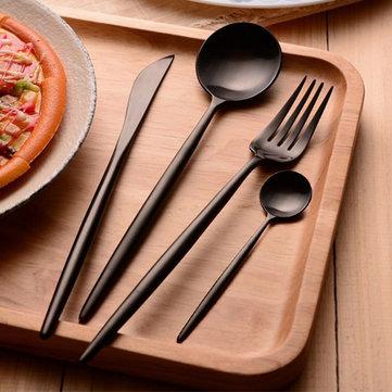 ككاساFL24قطعةالغذاءالصف 304 المقاوم للصدأ أطباق مجموعة ماتي أواني السكاكين المائدة