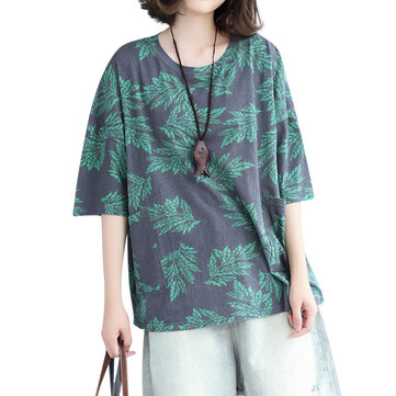 Loose Women Top Casual Leaf Printed Pockets Cotton T-Shirt